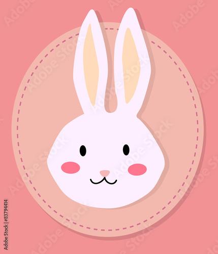 Obraz Editable vector illustration of a cute rabbit head cartoon in pink background.