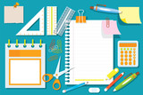 Office Supplies and Stationery Flat Design Objects