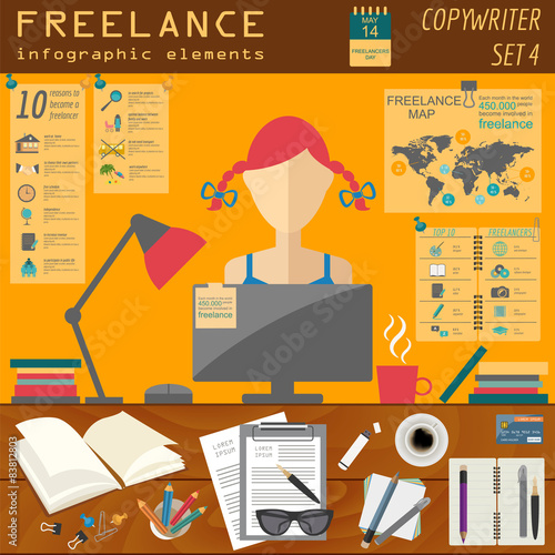 Freelance infographic template set elements for creating for Auteur freelance