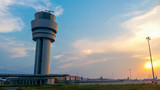 Fototapety Airport control tower at sunset in Sofia, Bulgaria