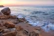Landscape of  Sunrise with rocky sea coastline