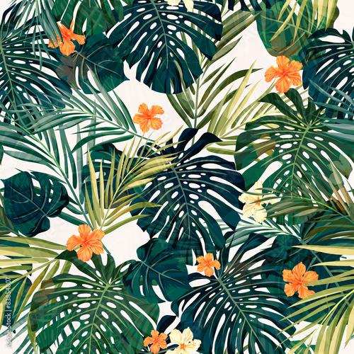 Tapeta Bright colorful tropical seamless background with leaves and