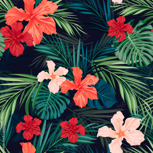 Bright colorful tropical seamless background with leaves and - 83854815