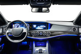 Car interior dashboard black with blue ambient light