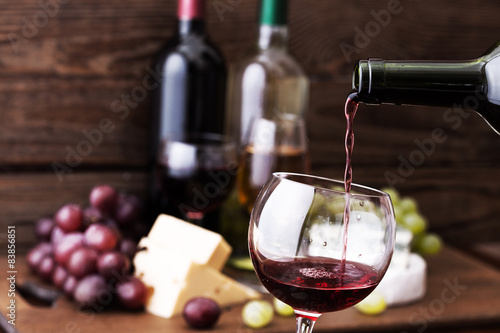Red wine pouring into glass, close-up. плакат
