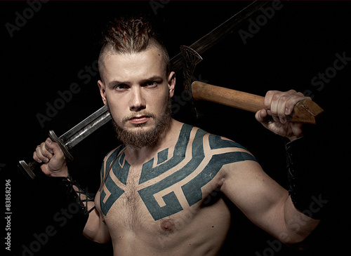 Viking with sword and axe