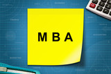 MBA or Master of Business Administration word on yellow note poster
