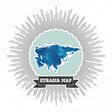 Eurasia map with vintage style star burst, blue watercolor poster