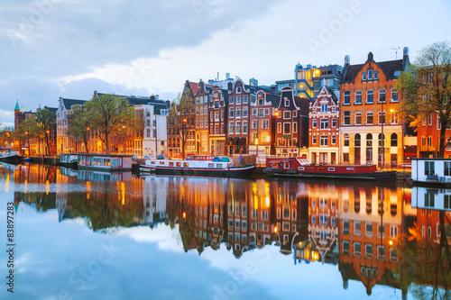 Noc miasto widok Amsterdam, holandie
