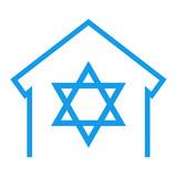 Icono aislado sinagoga azul