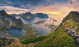 Fototapety Norway.View from Reinebringen at Lofoten Islands, Norway.