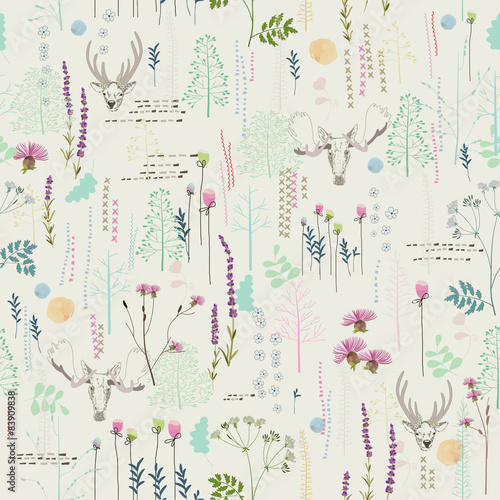 Fototapeta Seamless pattern with trees, shrubs, foliage, deer
