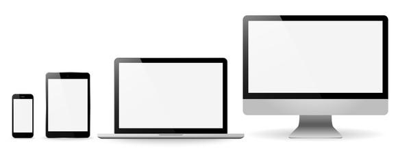 Zestaw realistyczne monitory tabliczka laptop i telefon wektor illustrati
