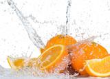 Fototapety Oranges with water splash