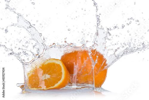 Oranges with water splash