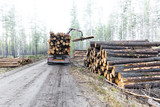 Timber truck on swedish dirt road - 83935693