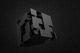 Fototapety Abstract 3d rendering of flying cube.