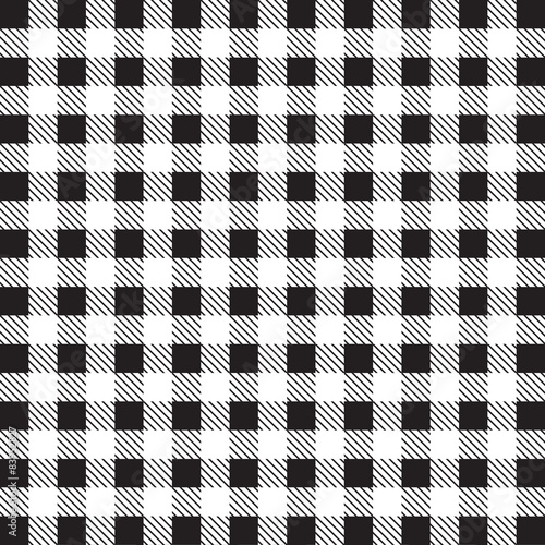 Fototapeta na wymiar Gingham tablecloth pattern background black and white