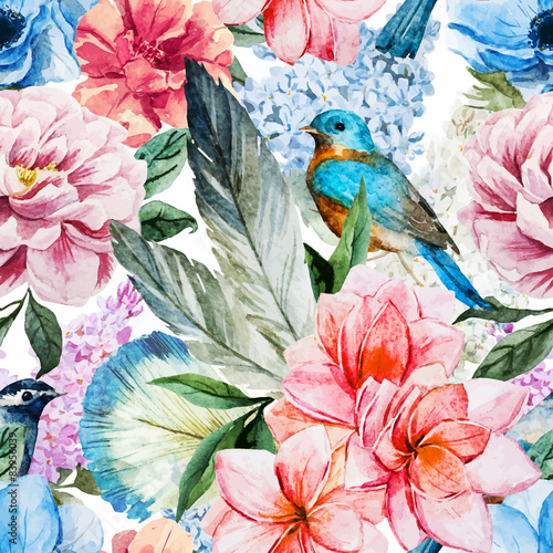 Obraz na Szkle Watercolor flowers pattern