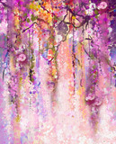 Fototapety Watercolor painting. Spring purple flowers Wisteria background