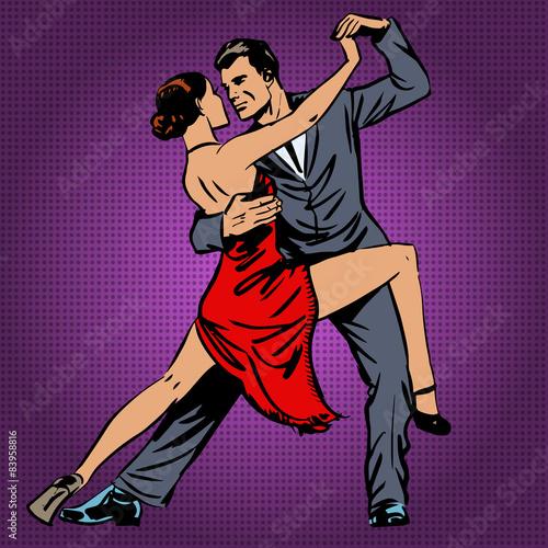 obraz lub plakat mężczyzna i kobieta z pasją tańczy tango pop sztuki