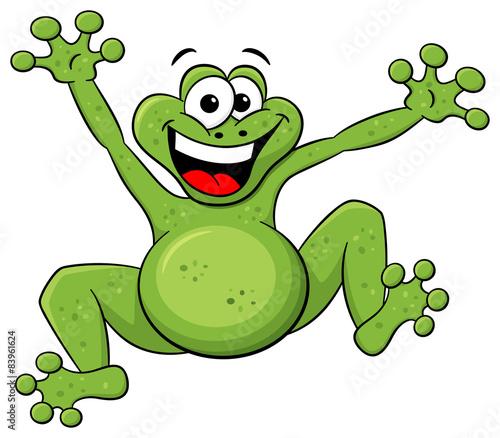 Gamesageddon Hüpfender Cartoon Frosch Auf Weißem Hintergrund