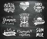 Fototapety Chalkboard Typographic Summer Designs