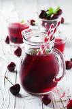 Fototapeta Fresh cherry juice with ice