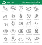 Vector car interface and electronic safety systems icons.