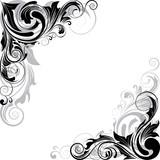Swirl black and gray angle ornaments - 83984227