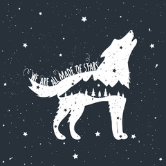 Vector illustration with howling wolf, mountains and trees