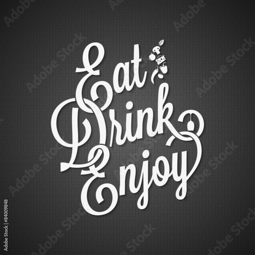 food and drink vintage lettering background 10 EPS Poster