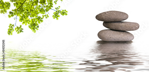 Fototapeta bannière zen, galets et feuilles d'érable