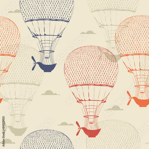 Retro seamless travel pattern of balloons - 84022450