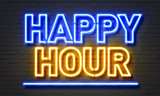 Fototapety Happy hour neon sign