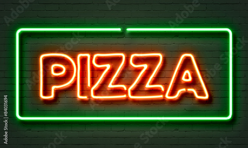 Fototapeta Pizza neon sign