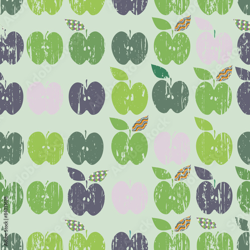 Green apples in hipster style on mint background - 84031698