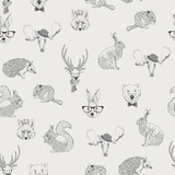 Seamless pattern with rabbit, hare, squirrel, deer