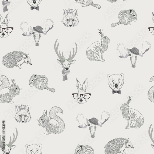 Seamless pattern with rabbit, hare, squirrel, deer - 84032098
