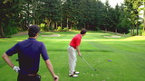 Man tees off