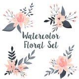 Watercolor floral vector set with flowers and branch