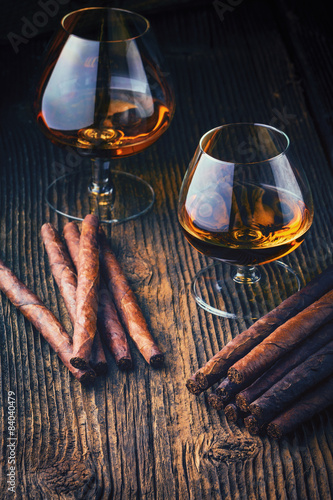 quality cigars and cognac Plakat