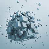 Fototapety Abstract 3d rendering of flying cubes.