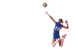 Fototapety volleyball woman jump and kick ball isolated on white background