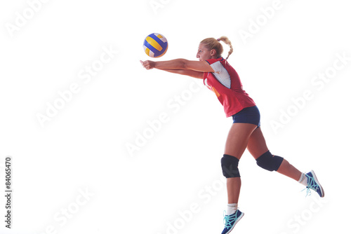 volleyball woman jump and kick ball isolated on white background Tableau sur Toile
