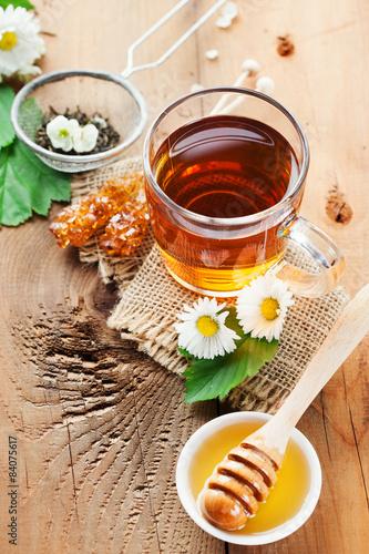 Foto op Canvas Koffie Herbal tea and honey