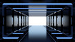 Futuristic dark tunnel with blue lights