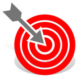 Arrow in red target. Precision, bullseye, accuracy, goals, succe poster