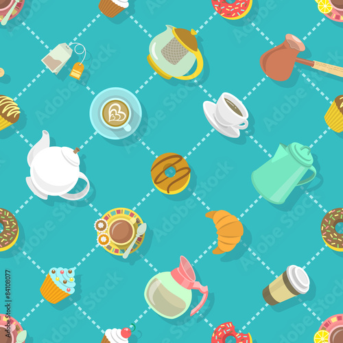 Cotton fabric Flat City Cafe Seamless Pattern
