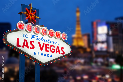 Poster LAS VEGAS - MAY 12 : Welcome to fabulous Las Vegas neon sign wit